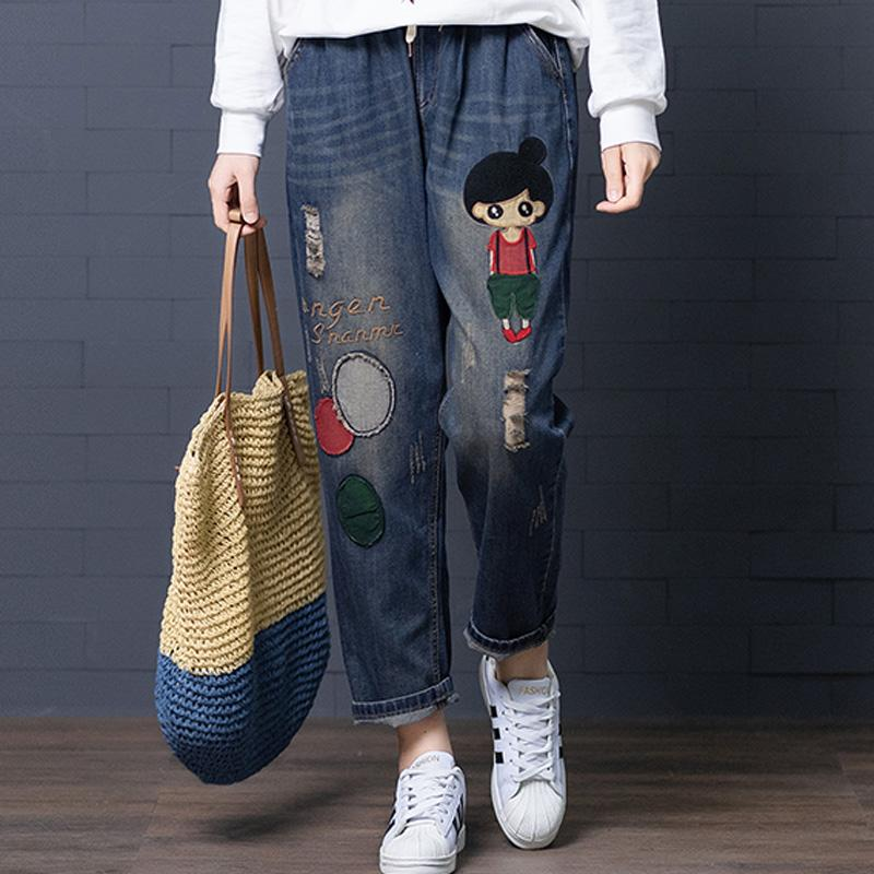 Femmes Jeans Denim Pantalons Bas Pantalons Big vrac Broderie Patchwork Cartoon Sweet Girl Cute Fashion BO20321618 Casual