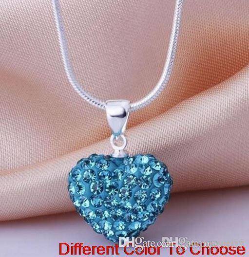 moda hotsale nuovo matrimonio mircro pave disco Mix colori perline argilla cuore argento placcato cristallo collana pendente di cristallo donne y3422 w62