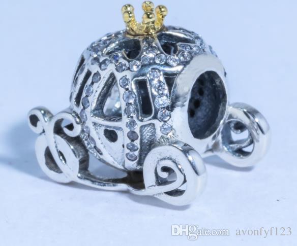 Marca Pandora Bead 925 Plata Esterlina Corona chapado en oro coche de calabaza Para Mujeres Pulsera collar Encantos Regalo de La Joyería W62