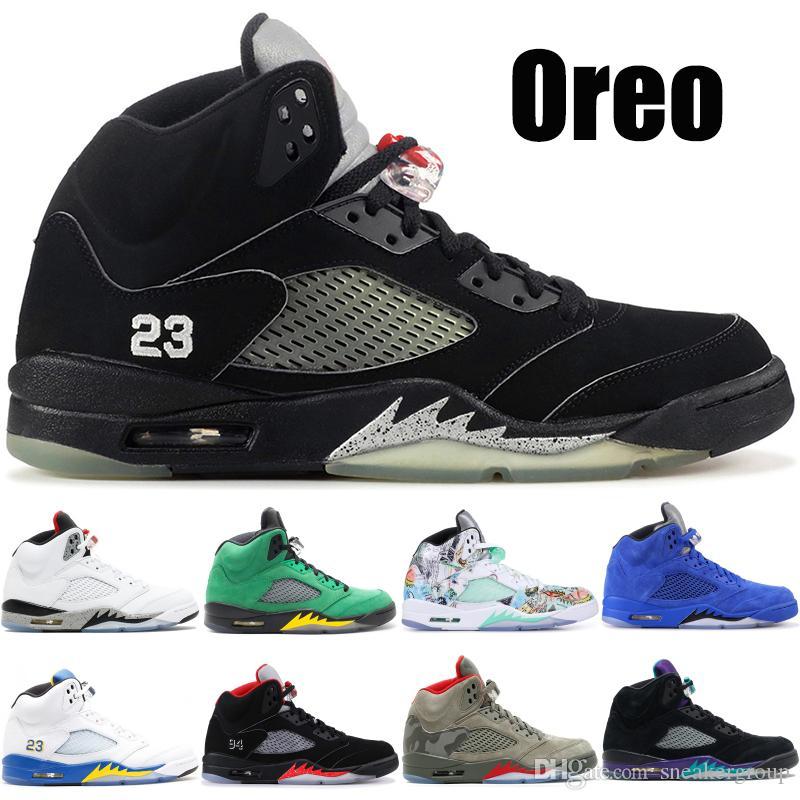 5 5s Мужчины Баскетбол обувь Oreo Бронзовый Wings Black Grape Blue Suede Laney Стилист кроссовки Спортивные кроссовки Размер 40-47