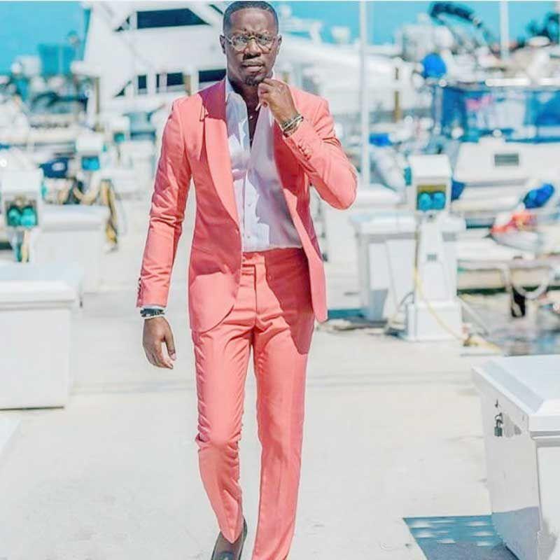Summer Wedding Men Suits Pink Linen Groom Tuxedos Man Suit Single Breasted Groomsmen Blazers Jacket 2 Pieces (Coat+Pants)Costume Homme
