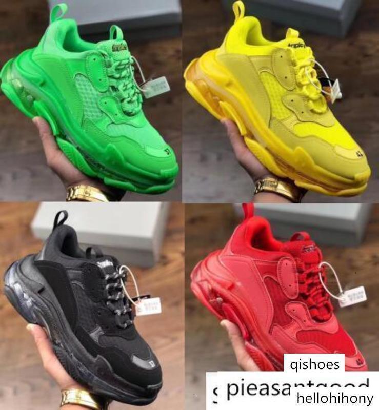 2019 Mens Triple S zapatos corrientes de las mujeres de lujo de moda diseñadores Formadores Topo Multi Claro Sole Chaussures Triple-S Caminar zapatillas L8