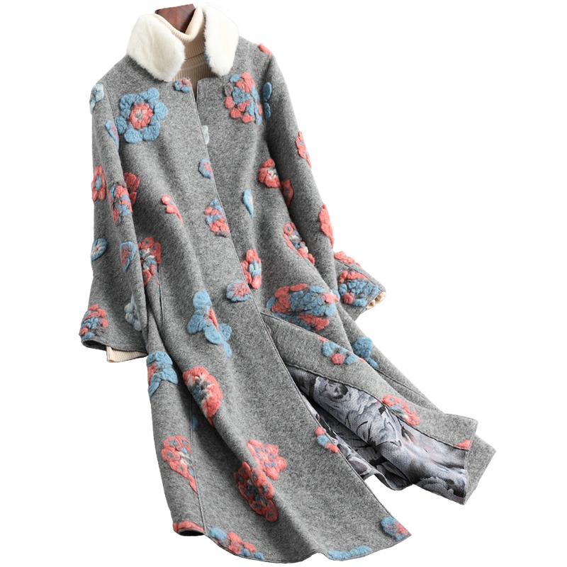 Gola do casaco real Fur Lã Feminino Jacket Outono Inverno Casaco feminino Roupa Sheep 2019 coreano Vintage Shealring Tops T4691