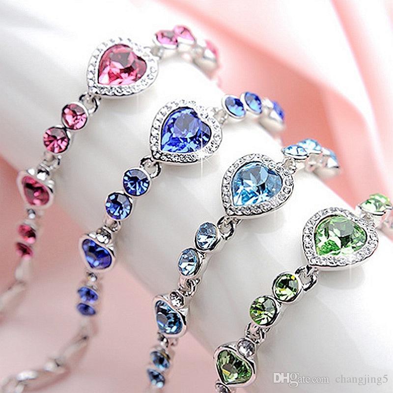 Pareja pulsera de señora cristalino de la joyería de la constelación pulsera del corazón del océano de cristal pulsera de moda del regalo de boda