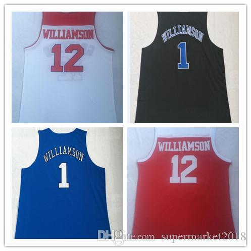 New Spartanburg Day School #12 Zion Williamson jerseys NCAA Duke college #1 embroidered basketball Jersey University uniform T-shirt