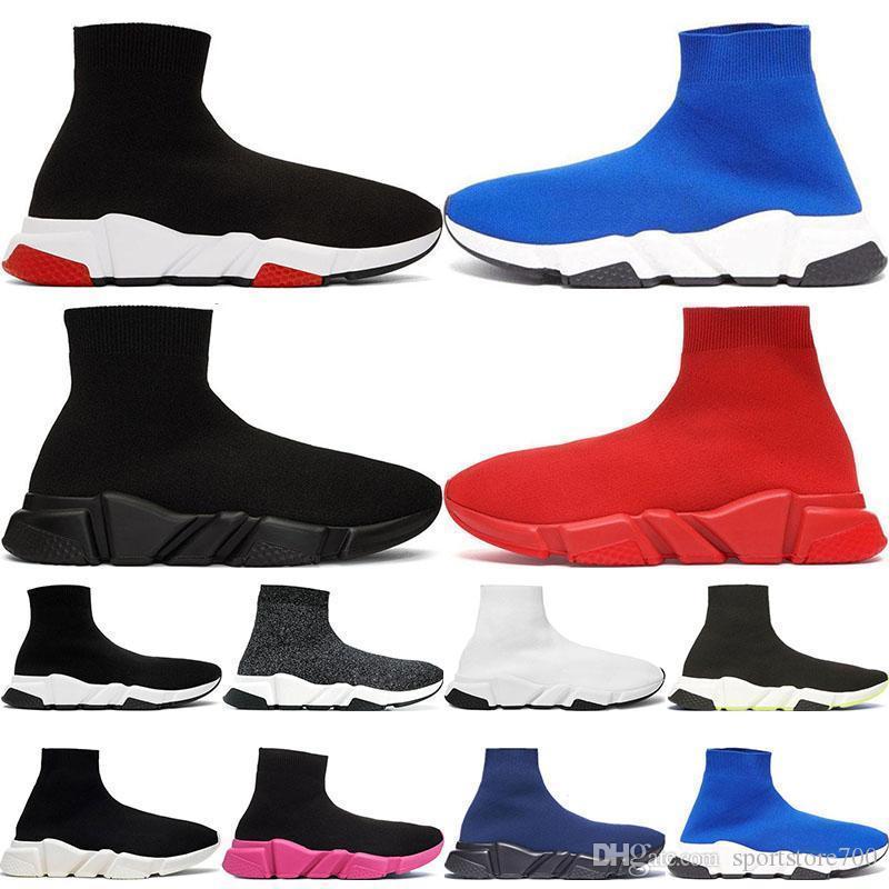 2020 a melhor qualidade Speed Trainer Preto Designer Sneakers Homens Mulheres Preto Vermelho Casual Sapatos Moda Meias Sneaker Top Botas 36-45