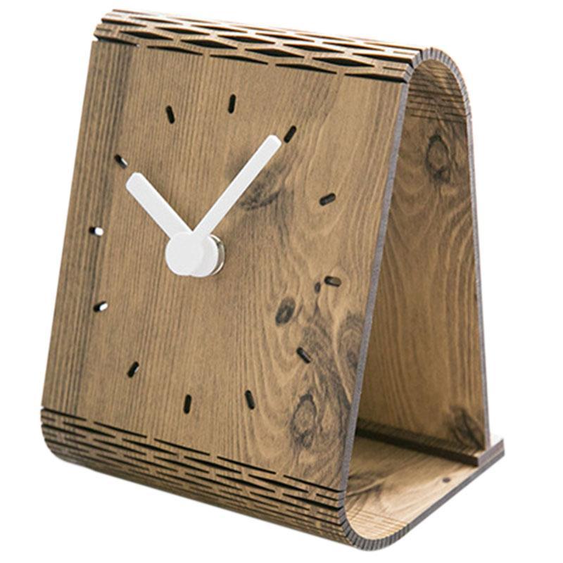 Luda criativa tabela de madeira Relógio design moderno decoração do quarto Secretária relógios para Student Office Desktop Assista Home Decor