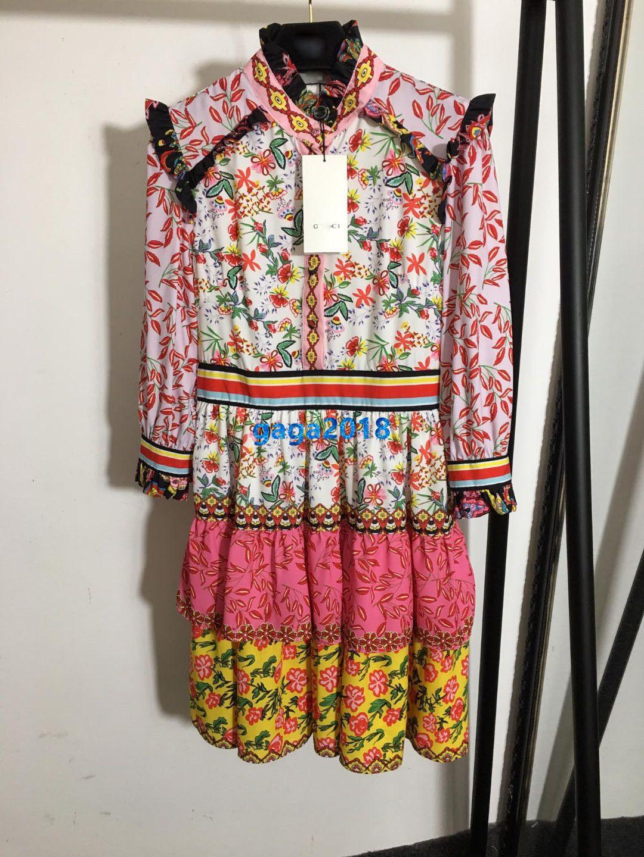 نهاية النساء عالية الفتيات قميص قصير فستان خليط خمر الأزهار المطبوعة الخامس الرقبة طويلة الأكمام سطر فساتين تنورة تصميم الأزياء الفاخرة المتدرجة