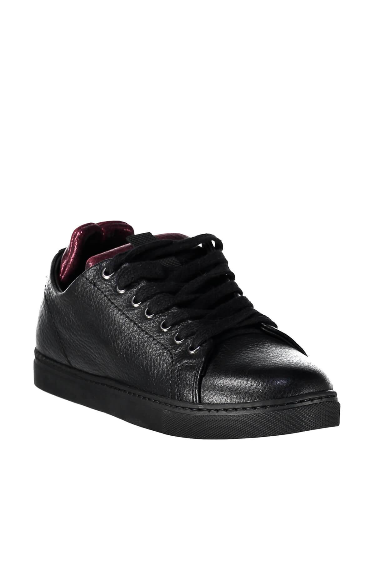 Derimod Sapatos De Mulher Preta De Couro Genuíno