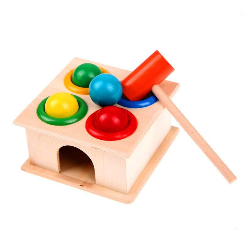 1SET خشبية يدق الكرة المطرقة صندوق الأطفال متعة اللعب الهامستر لعبة لعبة التعلم المبكر ألعاب تعليمية