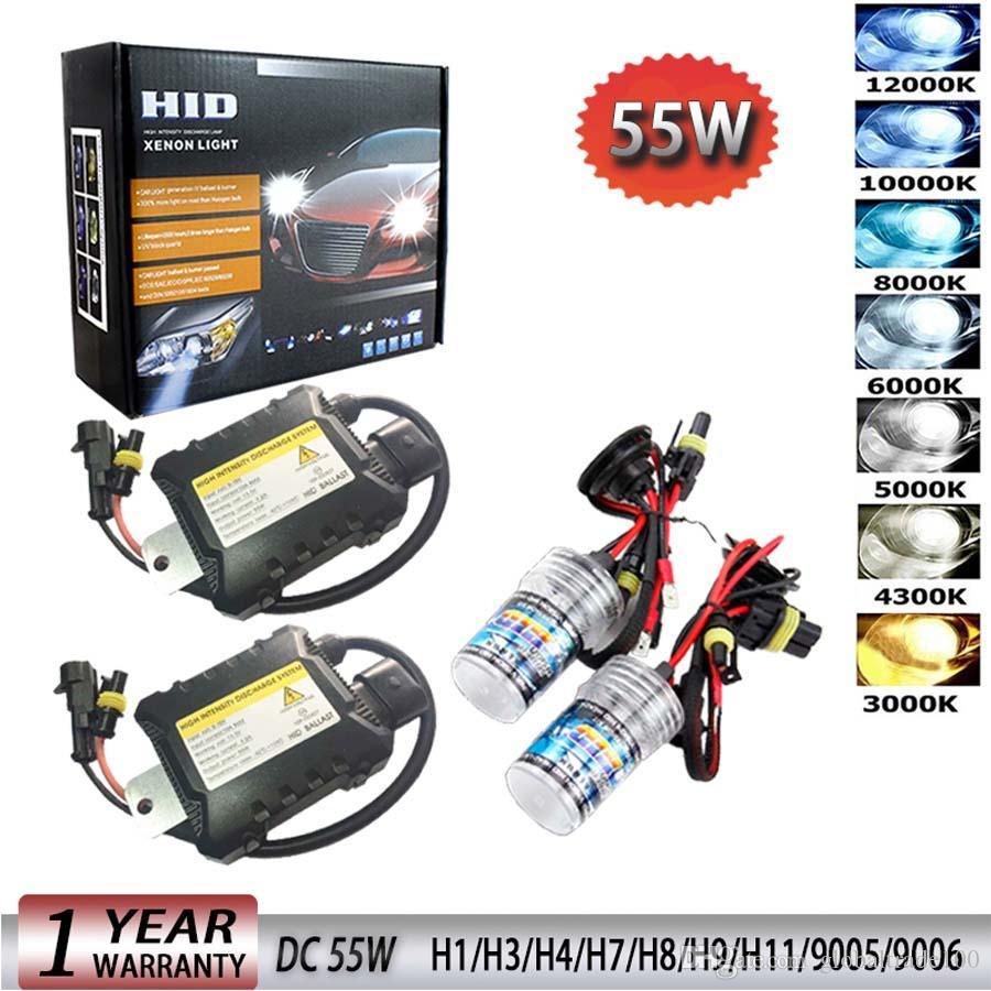 55 Вт 12 В ксеноновая лампа фара автомобиля H1 H3 H7 H11 9005 9006 4300k 5000k 6000k 8000k HID тонкий балласт ксеноновые фары комплект