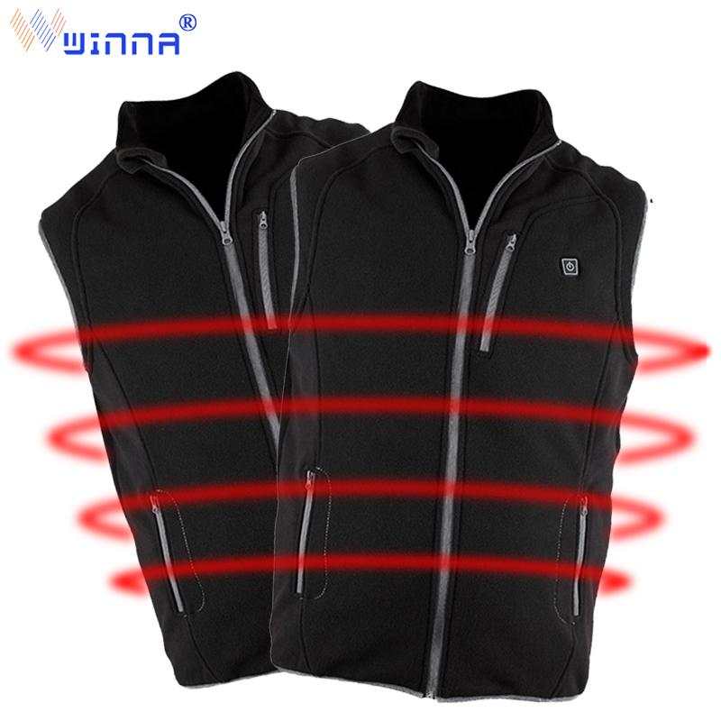 Unisex Fleece Heated Vests with Power Bank Thermal Waistcoat Clothing Electric Heating Vests for Outdoor Riding Running Hunting