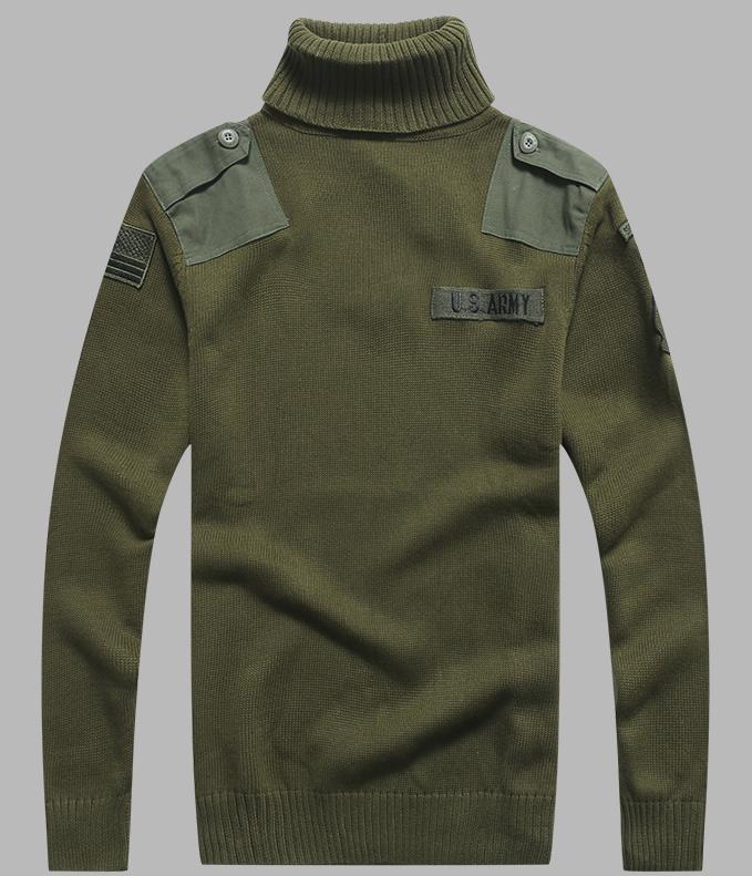Mens US Army Sweater Patch Design Tactical Army Knitted Highneck Sweaters Autumn Winter Casual Thick Pullover Men