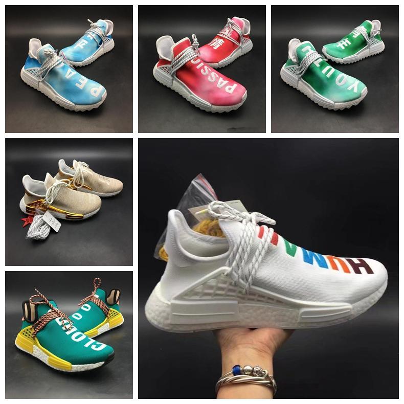 2019 Originals Human Race Hu Chinese Elements Youth Design Men Womens Green Running Shoe Upper Fashion Designer Trainer Sport Sneaker