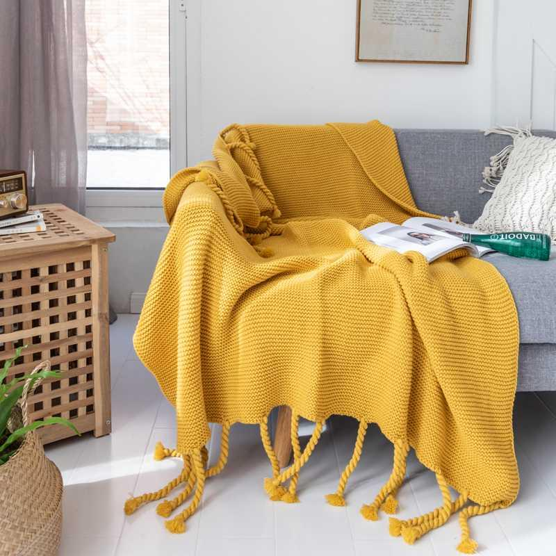 Decke Decke Quaste Quality Sofa Comfy gestrickte High Thread Flugzeug SchlafendeckePreads Air BET Conditioning Home mit Decke JNSVL