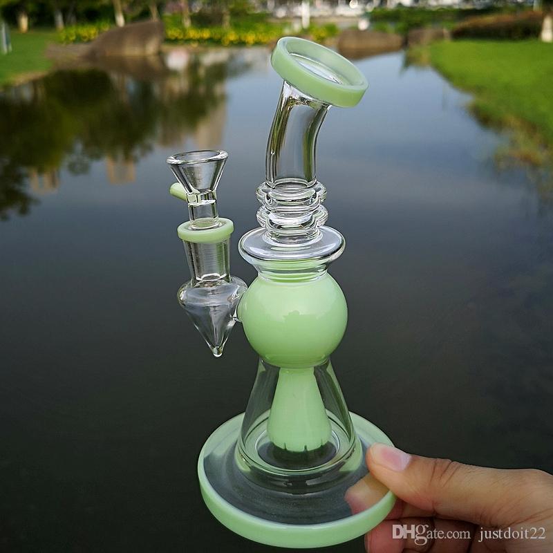 Orninais roxos de vidro heady bongs com bocal mini tubos de água chuveiro perc perc percolaters design pirâmide Óleo aparelhos com tigela de 14mm
