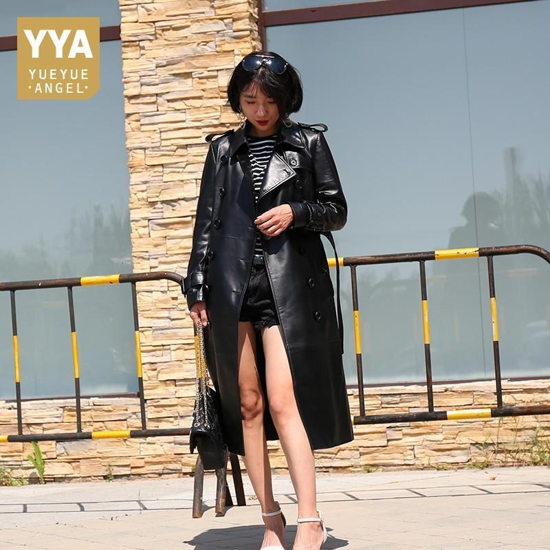 Véritable trench-coat en cuir femmes Taille Plus Manteaux longs femme en peau de mouton Automne Hiver Noir Femme Veste coupe-vent en peau d'agneau