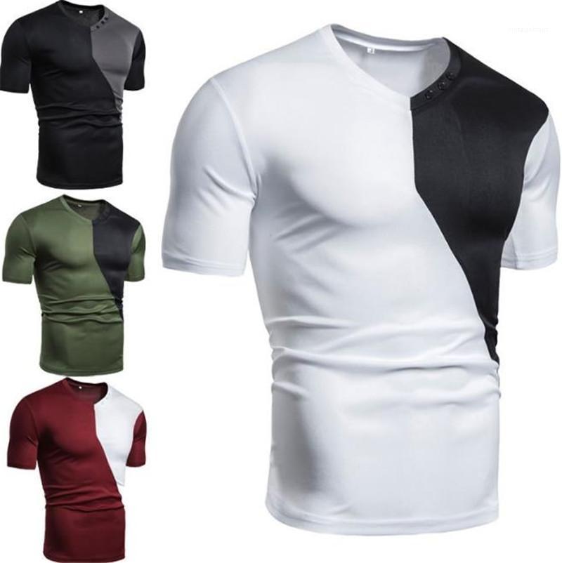 Rahat Nefes Erkek V Yaka Tasarımcı Erkek tişörtleri Patchwork Renk Gevşek Kısa Kollu Erkek Tees Tops
