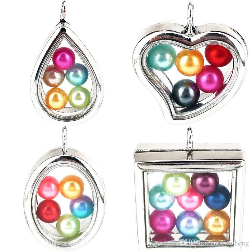 8mm Beads Pearl Cage - Silver Color Geometry Magnetic Glass Floating Locket Pendants Without Rhinestones Open Charms