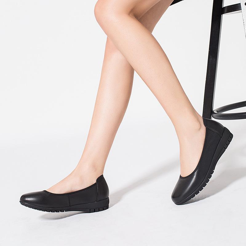Appartements Chaussures Femmes Shallow Bouche Simple Chaussures Femmes en cuir véritable noir souple antidérapants bas travail Chaussures Semelle en caoutchouc