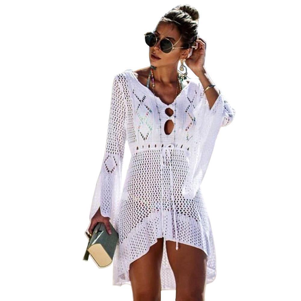 Örgü Katı Çan Kol Tatil Elbise Plaj Cover Up Tığ Dantel Yaz Bikini Kadınlar Bluz Mayo