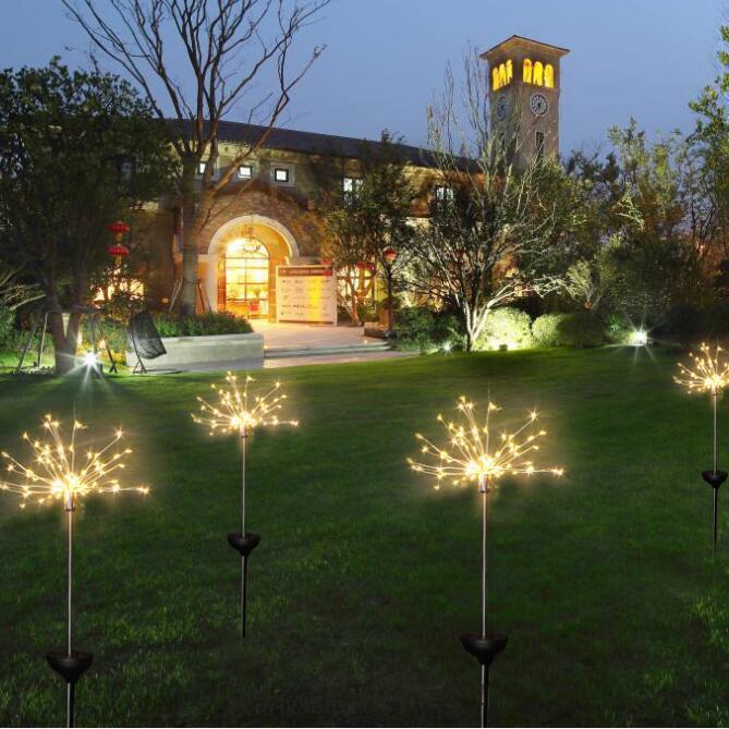 Güneş Fireworks Işıkları 120 LED Dize Lambası Su Geçirmez Açık Bahçe Aydınlatma Çim Lambaları Noel Süslemeleri ışıkları Yeni GGA2520