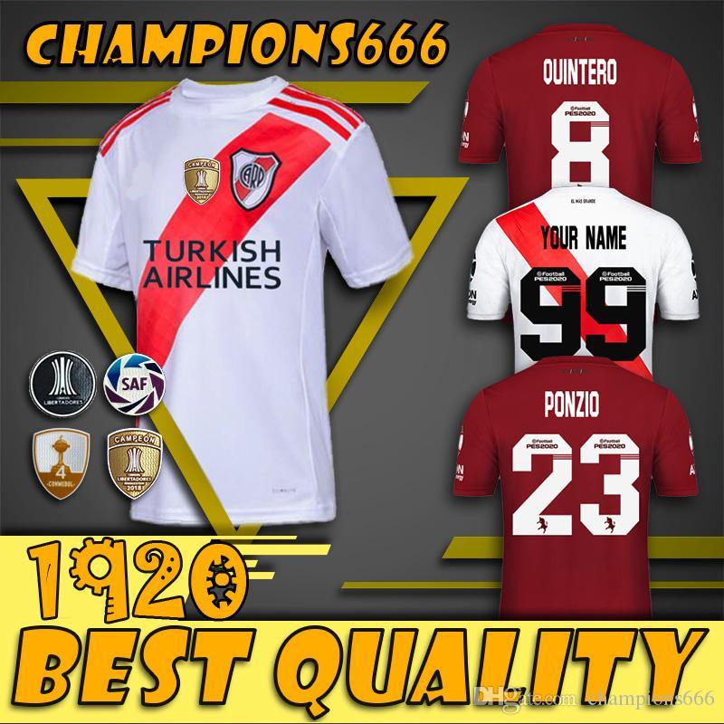 2020 River Plate-weißer Fußball Jersey River Plate entfernt Red G.MARTINEZ QUINTERO PRATTOSoccer Hemd 19/20 Flußbett Fußball-Uniform Verkauf