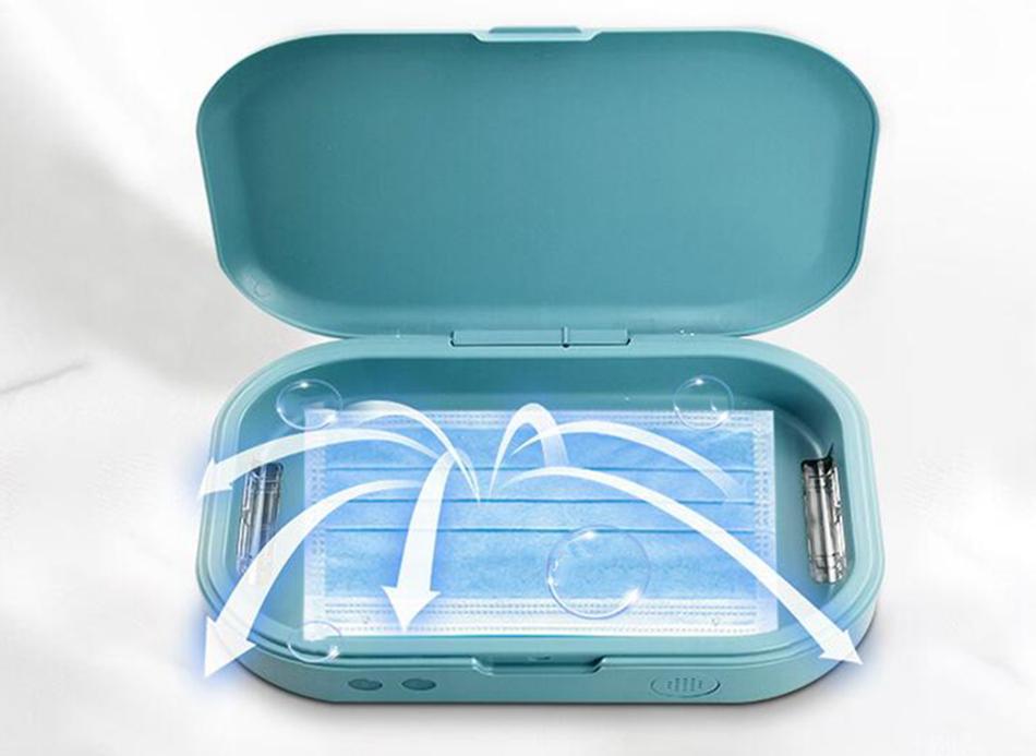 Portable stérilisateur UV Box Case Sanitizer Box désinfection Charge Machine pour Masques Visage Bouche Téléphone Montres Lunettes LJJA3979