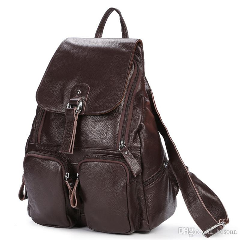 New women genuine leather backpack purse vintage style multi-pocket travel daypack school bags for girls 4 Colors Available