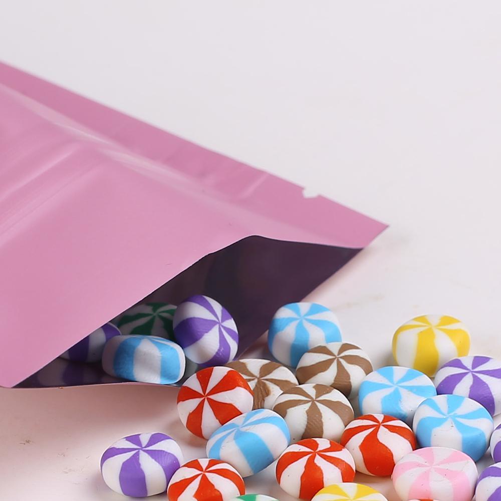 """8.5x13cm (3.3x5.1 """") Nuovi sacchetti di imballaggio ziplock color rosa confezione foglio di alluminio mylar stand up pouch per alimentazione tè"""