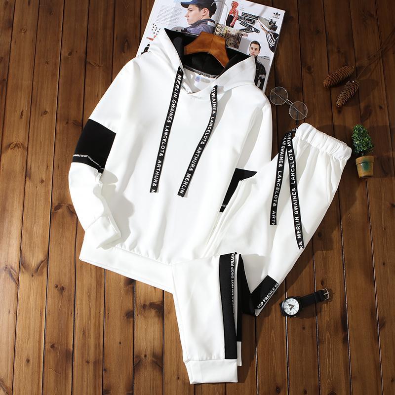 Hommes capuche Sets Costumes Printemps Automne Mode sport Hommes Sweat Sweatpants Sweats Vêtements Sweat-shirts hommes Set Survêtement T200324