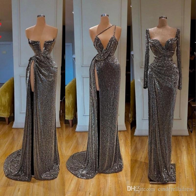 New Sexy Long Sleeve Split Side Silver Mermaid 2020 Prom Dresses Sequined Formal Evening Gowns robe de soiree Abendkleider