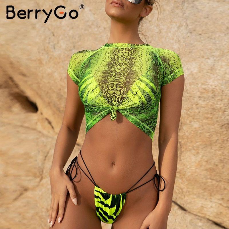 Women's Swimwear Short Sleeve Bikini 2021 Micro Sexy Women Bathing Suit Biquini Summer Beach Wear Swimsuit Female Push Up
