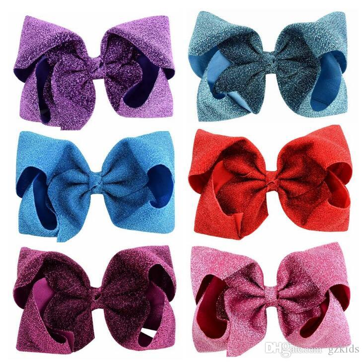 Jojo Siwa Hair Bows 8-inch oversize hairpin with butterfly knot shiny fabric hairdress flower clip the best gift for children