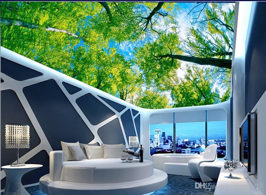 Pittura personalizzataOriginale albero verde soffitto zenith Soffitto Parete Murale Disegni Moderni 3D Soggiorno Camera da letto Soffitto Wallpaper Papel De Parede