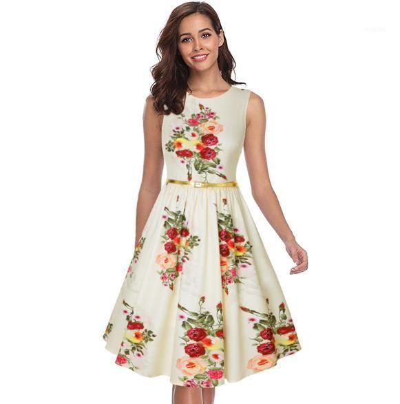 Womens Designer Floral Imprimir Vestidos Verão Crew Neck vestido sem mangas Casual Saia Vintage Painéis Vestuário Feminino