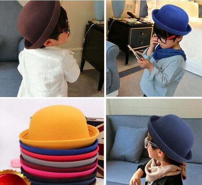 Bambine fedora cappello della cupola dei bambini della protezione cappelli di vestito per bambini protezioni in feltro di lana cappelli infeltrimento Bowler cappelli donne convenzionali Hat Uomini tesa del cappello avaro