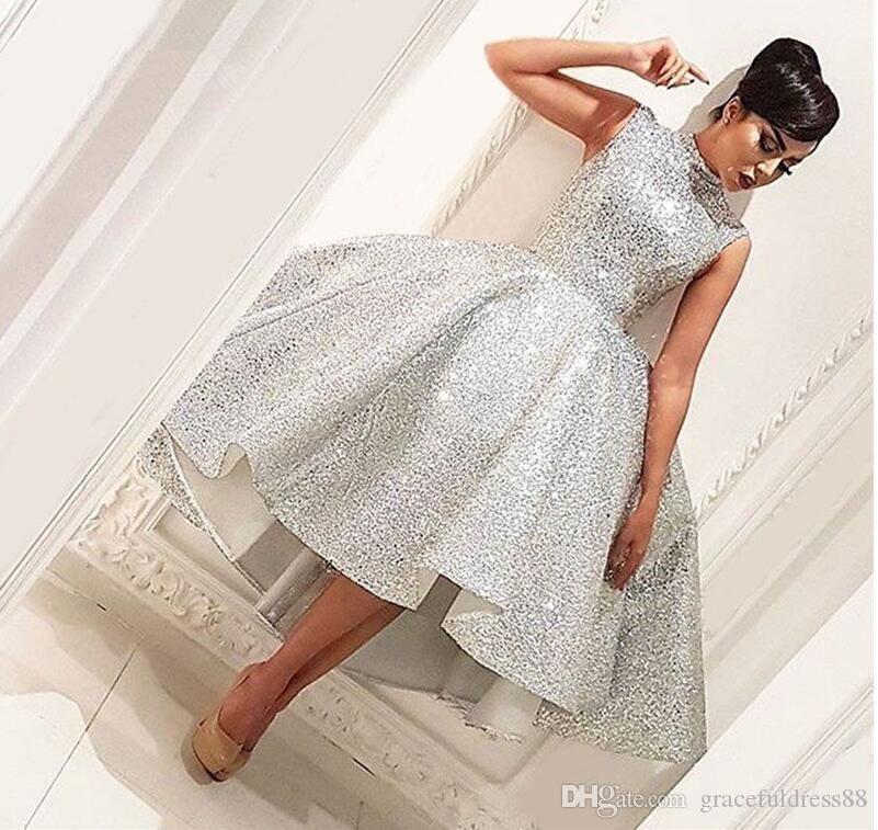 Bling musulmanes vestidos de noche 2019 de bola del vestido de longitud de té Seuqins Dubai islámica Arabia árabe formal largo vestido de noche vestido de fiesta