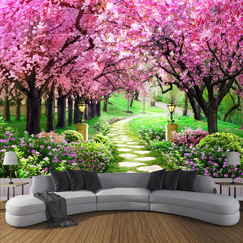 8D mural customization cherry blossom path scenery living room TV background wallpaper bedroom sofa seamless wall covering wallpaper 3d