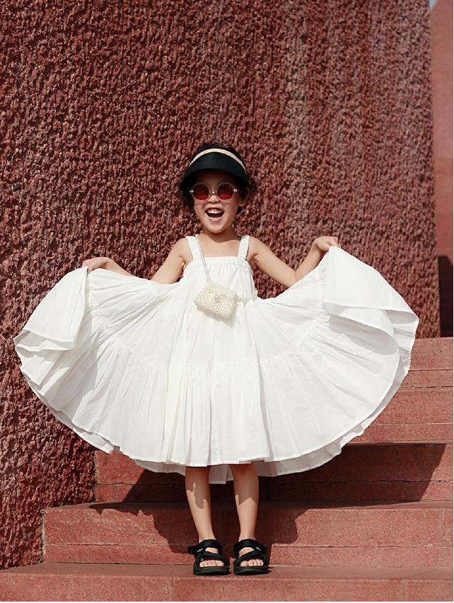 Brand girls Sling sleeveless 100% cotton dress children good quality off shoulder holiday beach dres