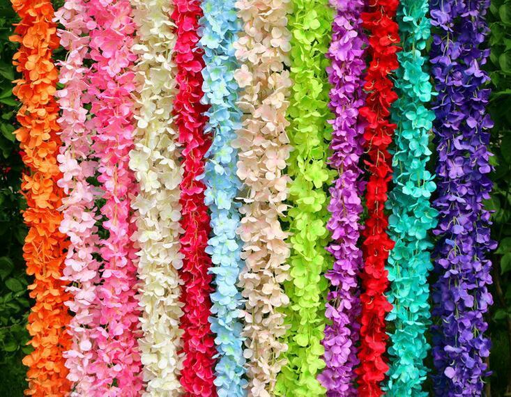 200cm//lot 12colors flower size Artificial green leaves rattan garlands DIY acces
