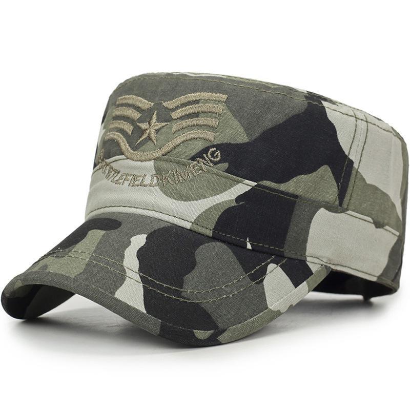 2020 Frühling und Sommer-Tarnung Flatcap Männer und Frauen Mode Fünf-Sterne-gestreifte Militär-Hut im Freien Wilden Sport Cap OfFFV