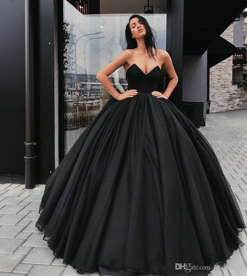 Compre Vestido De Fiesta Negro Vestidos De Fiesta Góticos 2019 Falda Hinchada Sin Tirantes Desfile Formal Días Festivos Vestir Vestidos De Fiesta De