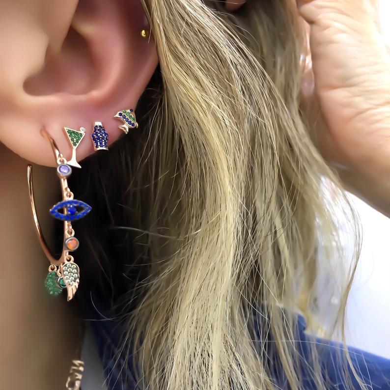 Colorful cz paved lucky charms hoop earring evil eye wing hamsa hand gorgeous stunning european women earrings