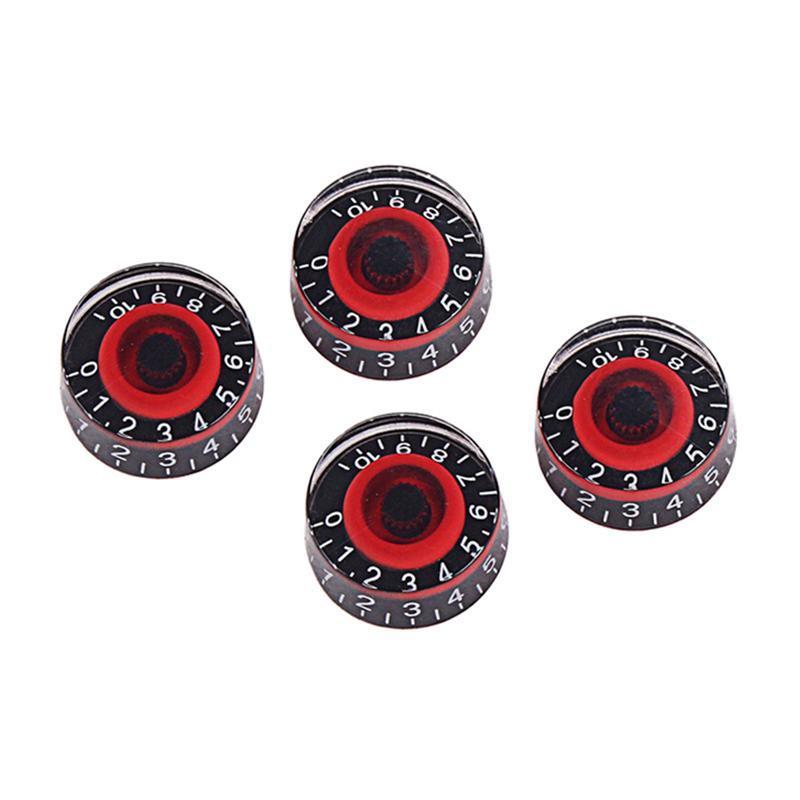 4 GD17A amplificadores botão de controlo do pedal efeito acrílico para baixo guitarra eléctrica (preto e vermelho)