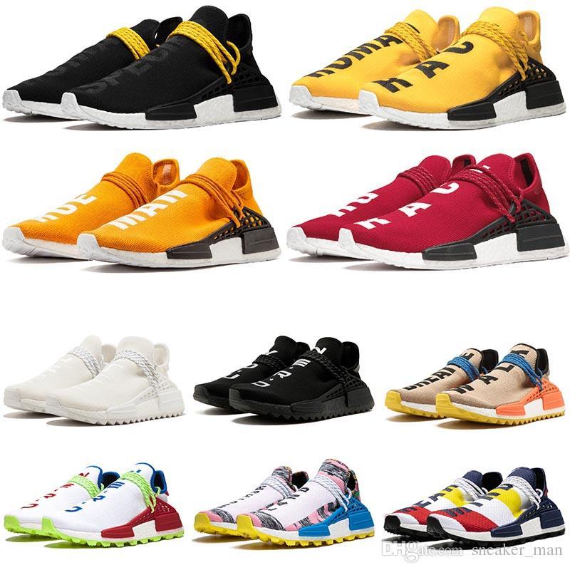 pharrell williams nmd human race nmd shoes Bayan Ayakkabı Pharrell Williams Nerd Siyah Üçlü Beyaz Krem Kravat Boya Güneş Glow Eğitmenler Erkek Spor Sneakers