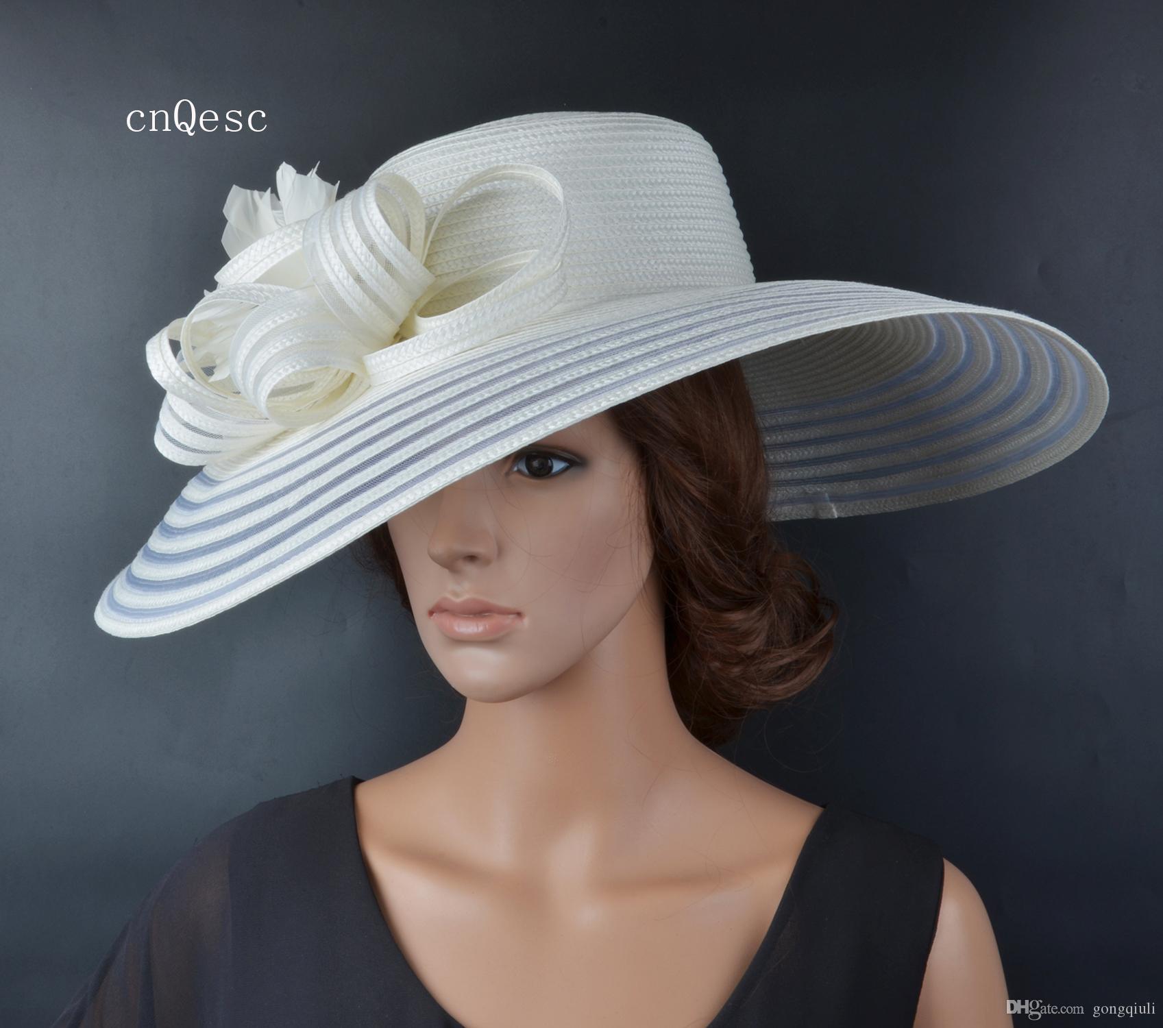 2019 X Large Ivory Ladies cappello abito formale PP Cappello di paglia sole cappello estivo per la festa della mamma Razze kentucky derby