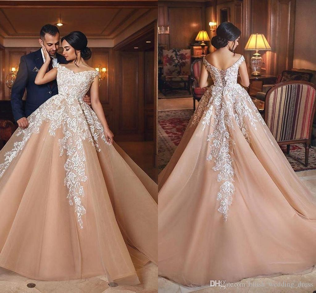 Elegant Ball Gown Wedding Dresses Off The Shoulder Appliques Lace Tulle  Plus Size Champagne Wedding Gowns Bridal Dresses Ball Gown Prom Dresses  Best ...