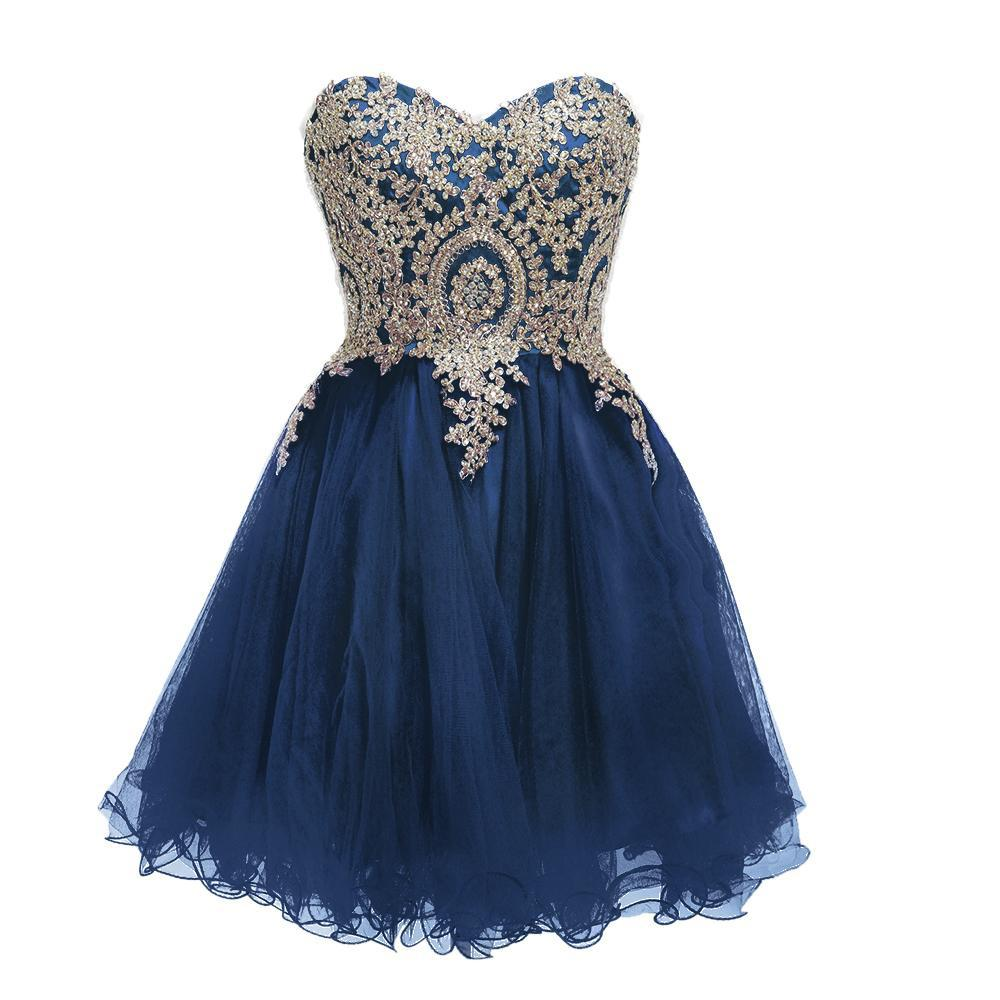 Королевский синий короткие платья выпускного вечера Homecoming платье линия золото аппликация кружева тюль черный бордовый темно-синий бисер кристаллы партии коктейль