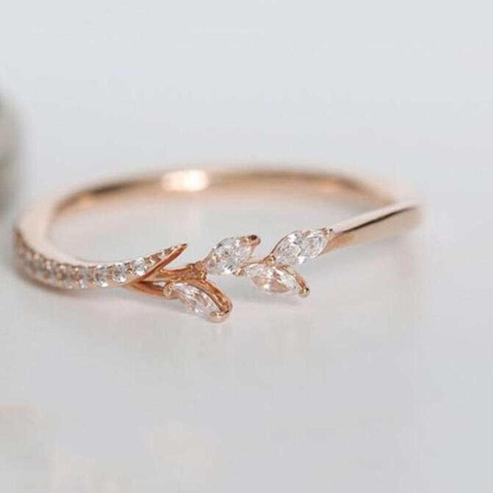 موضة جديدة خاتم صغير الذهب الفضة ارتفع الذهب والأوروبية الأمريكية نسائية شجرة فرع الإبداعية شكل الماس خاتم الخطوبة